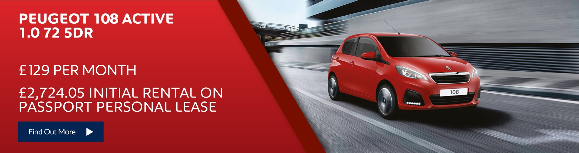 New Peugeot 108 Active - £129 per month