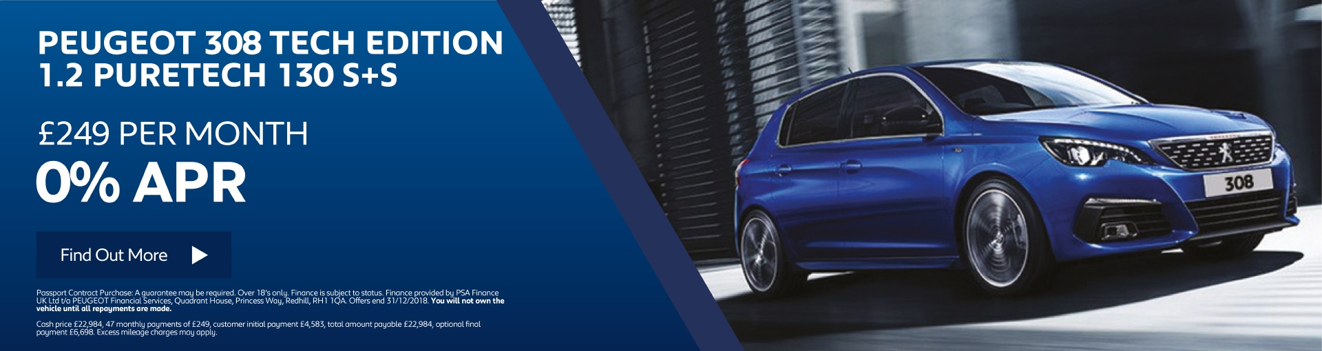 New Peugeot 308 Tech Edition - £249 per month