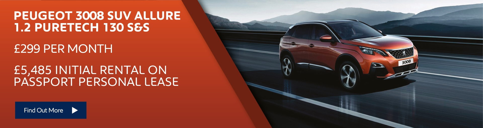 Peugeot 3008 SUV £299 per month